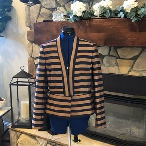 Ann Taylor Blazer/Jacket - Navy & Taupe Striped